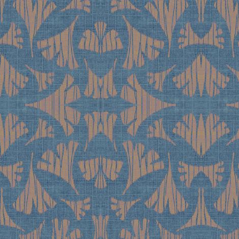 Ginkgo leaf woodcut - light blue/beige fabric by materialsgirl on Spoonflower - custom fabric