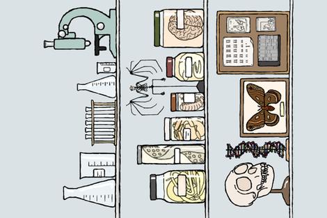 Ars moriendi tea towel fabric by doodleandhoob on Spoonflower - custom fabric