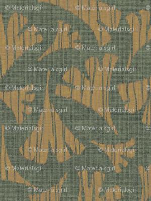 Ginkgo leaf woodcut - forest/caramel