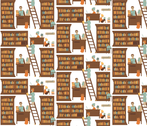Librarians at Work fabric by laurawilson on Spoonflower - custom fabric