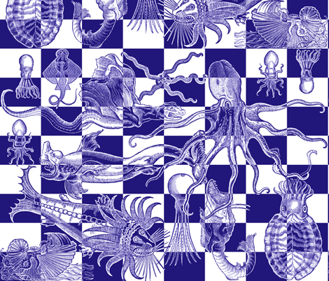 Antique Horrors of the Deep - small check - blue fabric by jenithea on Spoonflower - custom fabric