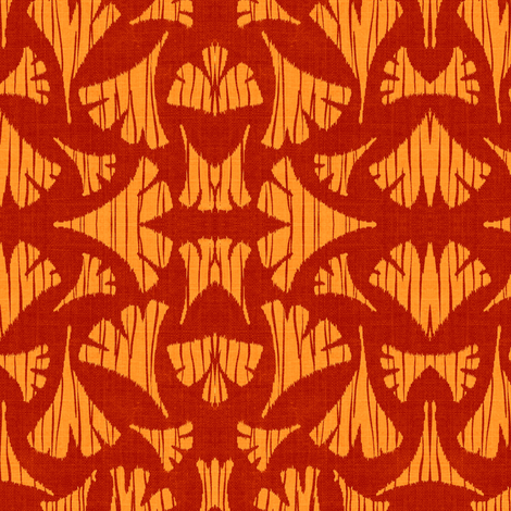 Ginkgo Leaf woodcut - cherry red/orange fabric by materialsgirl on Spoonflower - custom fabric