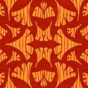 Ginkgo Leaf woodcut - cherry red/orange
