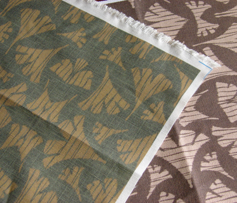 Ginkgo Leaf woodcut - brown, beige,