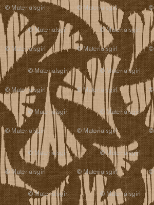 Ginkgo Leaf woodcut - brown, beige,