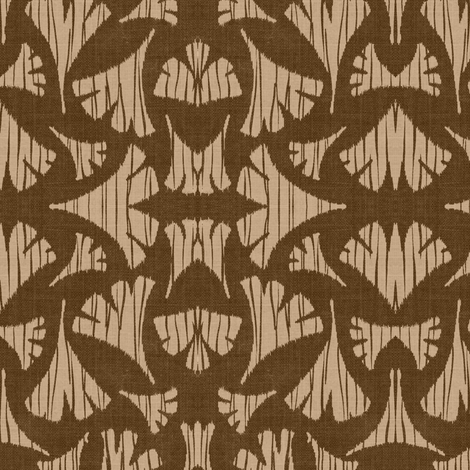 Ginkgo Leaf woodcut - brown, beige,  fabric by materialsgirl on Spoonflower - custom fabric