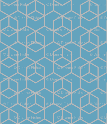 Hexagon trellis - grey on blue