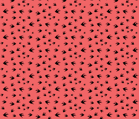 Flying sparrow - black on coral fabric by little_fish on Spoonflower - custom fabric