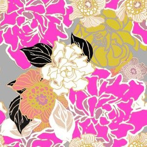 Jungle Passion Floral Pink Gold and Gray