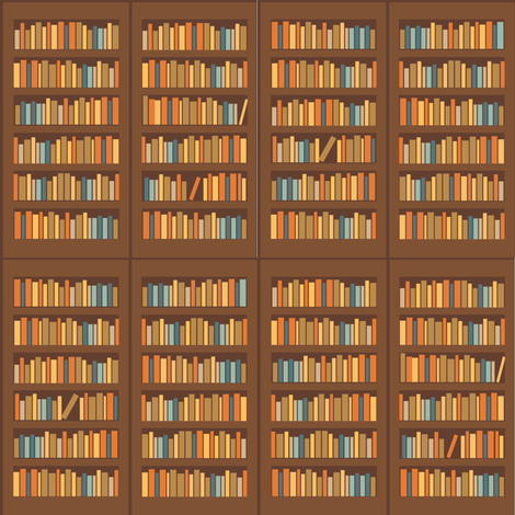 Library Book Shelves fabric by laurawilson on Spoonflower - custom fabric