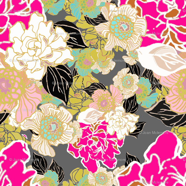 Jungle passion mustard turquoise pink black wallpaper joanmclemore jungle passion mustard turquoise pink black wallpaper joanmclemore spoonflower mightylinksfo