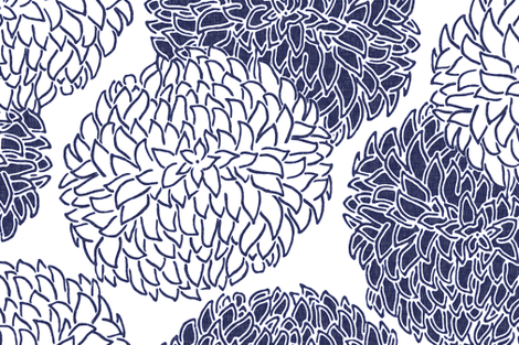 Modern Posy in Navy fabric by willowlanetextiles on Spoonflower - custom fabric