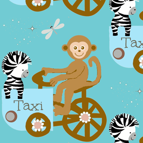 Funday taxi / monkey fabric by paragonstudios on Spoonflower - custom fabric