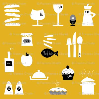 Kitchenalia in Mustard.