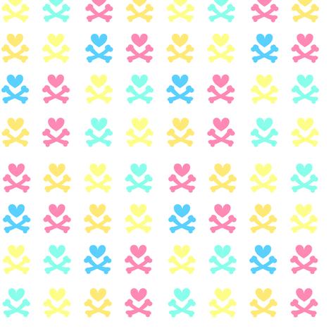Heartskulls v 2.0 - Beachy Vibes  - © PinkSodaPop 4ComputerHeaven.com fabric by pinksodapop on Spoonflower - custom fabric