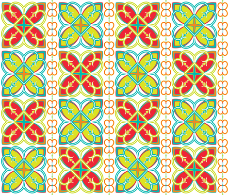 Asian Pattern Bright fabric by alchemiedesign on Spoonflower - custom fabric