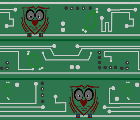 owl_circuit_board fabric by michelle_stewart on Spoonflower - custom fabric