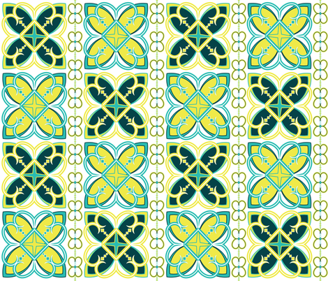 Asian Pattern Turquoise & Teal fabric by alchemie on Spoonflower - custom fabric