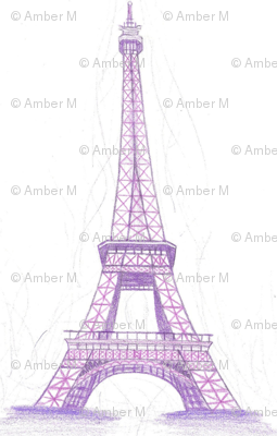 Eiffel Tower in purple - large scale