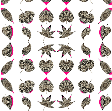 Zesty Zebra Z-Leaves 3 -  Pink Zing-ed fabric by dovetail_designs on Spoonflower - custom fabric