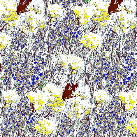 butterfly and yellow flowers fabric by dk_designs on Spoonflower - custom fabric