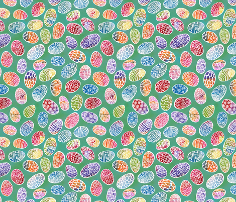 Painted Eggs on Green fabric by ghennah on Spoonflower - custom fabric