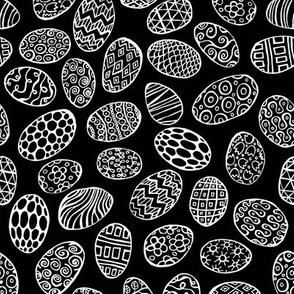 Egg Doodle - White on Black