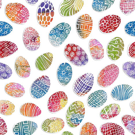 Painted Eggs on White fabric by ghennah on Spoonflower - custom fabric