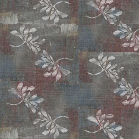 Twin lotus - wine, grey, blue, white fabric by materialsgirl on Spoonflower - custom fabric