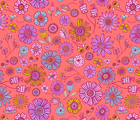 Spring Florals - coral fabric by kristinnohe on Spoonflower - custom fabric