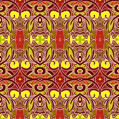 Pseudo Woodblock in the William Morris tradition fabric by edsel2084 on Spoonflower - custom fabric
