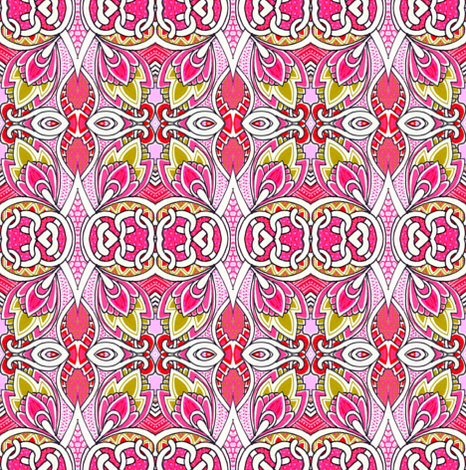 Dancing with the Deco Buds (pink vertical stripe) fabric by edsel2084 on Spoonflower - custom fabric