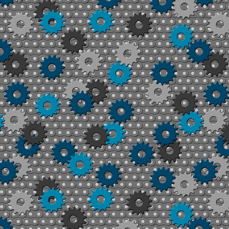 Little Gears on Cycle Chain fabric by shelleymade on Spoonflower - custom fabric
