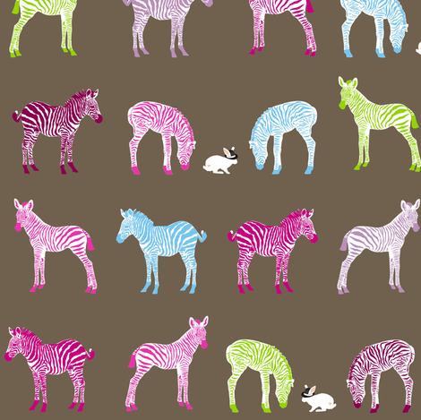 Baby Zebras Visit the White Rabbit in Wonderland fabric by smuk on Spoonflower - custom fabric