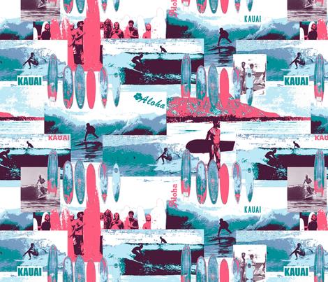 Surfing Old School Kauai Blue and Pink fabric by bloomingwyldeiris on Spoonflower - custom fabric
