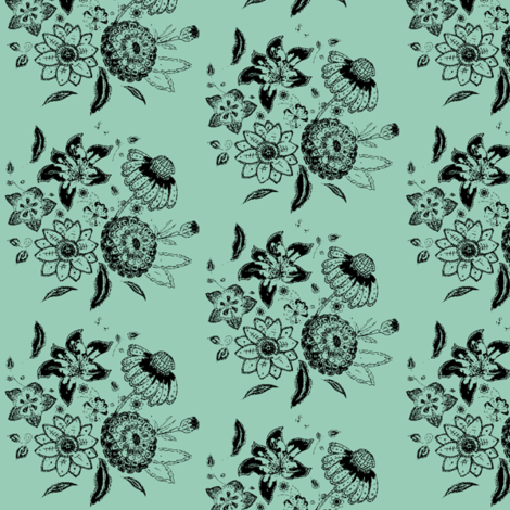 posy jade fabric by kerryn on Spoonflower - custom fabric