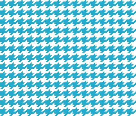 Houndstooth - Turquoise and white fabric by little_fish on Spoonflower - custom fabric