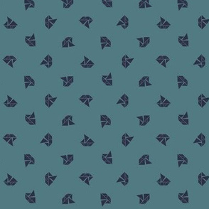 Tangram boats mini - navy on teal