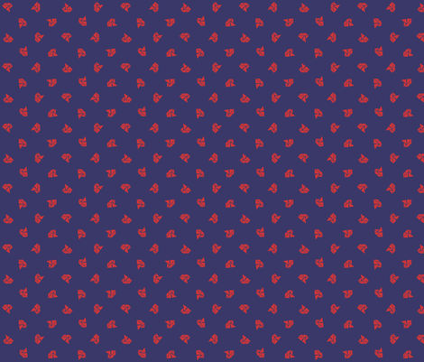 Tangram boats mini - red on royal fabric by little_fish on Spoonflower - custom fabric