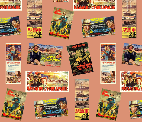 Ford Westerns with Duke Wayne fabric by skobby on Spoonflower - custom fabric