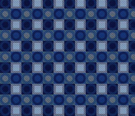 Twill Plaid Circles Blues fabric by glimmericks on Spoonflower - custom fabric