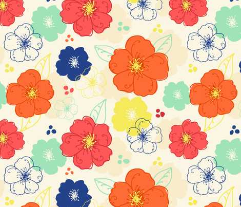 Flowering Quince Flowers fabric by abby_zweifel on Spoonflower - custom fabric