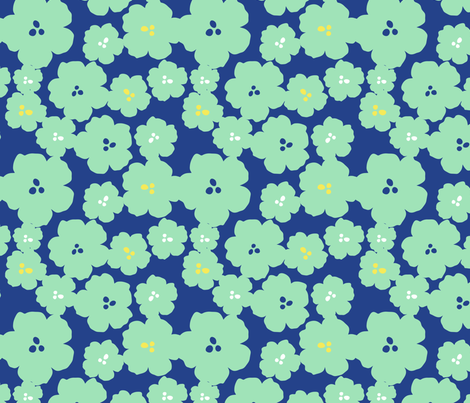 QuinceMiniFlowers-blue fabric by abby_zweifel on Spoonflower - custom fabric