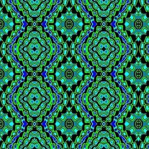 green and blue flower bandana