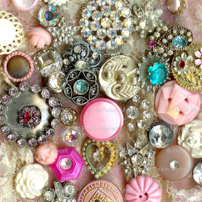 Antique Rhinestone Buttons