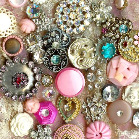 Antique Rhinestone Buttons fabric by parisbebe on Spoonflower - custom fabric