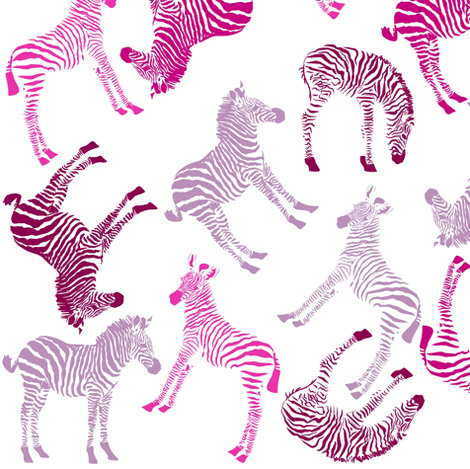 Baby Zebra visits the Cheshire Cat in Wonderland fabric by smuk on Spoonflower - custom fabric