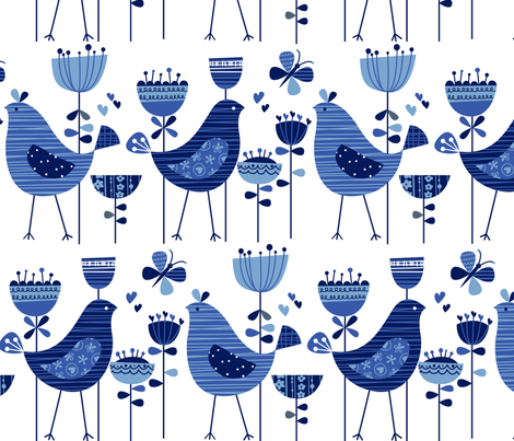 chirpy chirp tweet white cobalt fabric by amel24 on Spoonflower - custom fabric