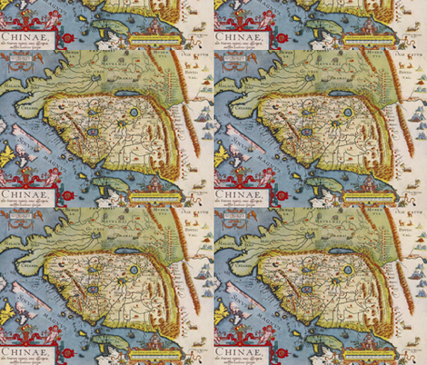 China Antique Map fabric by aftermyart on Spoonflower - custom fabric