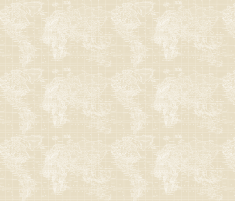 Vintage Beige and White Map fabric by aftermyart on Spoonflower - custom fabric